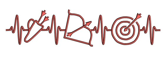 EKG heart beats for Archery embroidery design. Bow and arrows