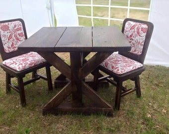Hand crafted rustic farm house bistro set.