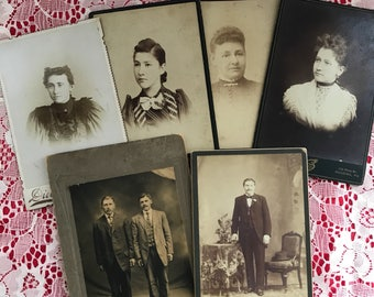 Antique Sepia Photographs Men and Women (L57)