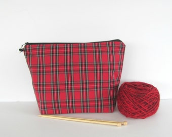 Knitting project bag, crochet yarn bag, Socks or sweater zipper wedge Red tartan plaid pouch - 2 sizes - Knitters Gift or Men's Toiletry Bag