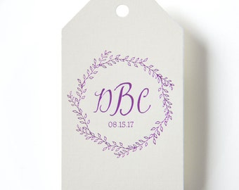 RUSTIC WREATH Monogram Gift Tags - Gift Wrap, Favor Tags, Party Favor Tags, Gift Tags Wedding, Wedding Favors, Foil Stamped Paper Hang Tag