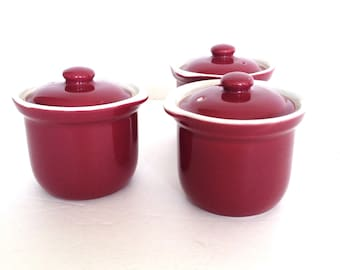 Vintage Hall Pottery - Mid Century Casseroles - Restaurantware - Individual Crocks with lids - Winter Cooking - casserole or Soup Crocks