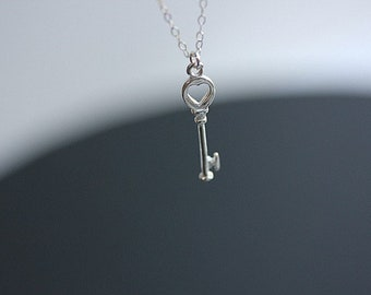Keys to my Heart, Silver Key Necklace, Small Sterling Silver Heart Key charm, Love Necklace, Heart Key Pendant, Simple Everyday Necklace