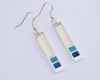 Enameled Silver Drop Earrings // Turquoise, White & Blue // Geometric / Art Deco Style // Made in England