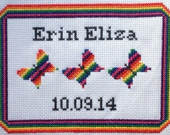 Cross Stitch Kit: Rainbow Butterflies Birth Sampler