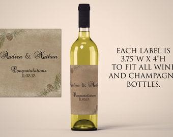 Wine Labels Wedding, Wedding Wine Labels, Custom Wine Label, Pinecone Wedding Label, Winter Wedding Printable