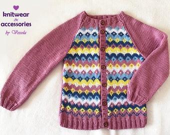 Child Cardigan Cotton Cardigan Nordic Cardigan Ethno Knit Jacquard Kid