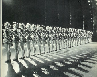 1940s Vintage Photograph - Radio City Music Hall Rockettes Girls - 40s Vintage Book Art Photograph Great Vintage Print for Cottage or Cabin