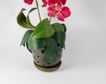 Ceramic orchid pot - orchid cachepot - pottery orchid pot - green orchid pot - orchid planter V206