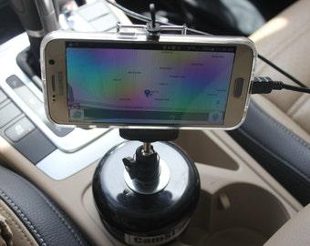 StashJar ™ Cell Phone Holder  - For Car Drink Holder and Desks