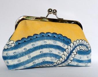 Yellow Clutch, Clutch Bag, Clutch Purse,Yellow and Blue Clutch, Yellow Evening Clutch, Handmade UK