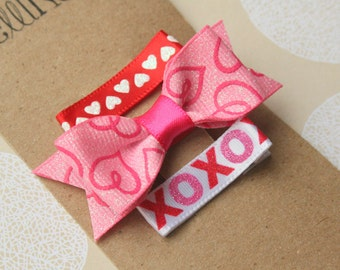 Valentines Day Baby Hair Clips, Hair Clips for baby, XOXO, Hearts, Pink Red Hair Bow for toddler, tween, teen, adult Hair Clip 2 SIZES