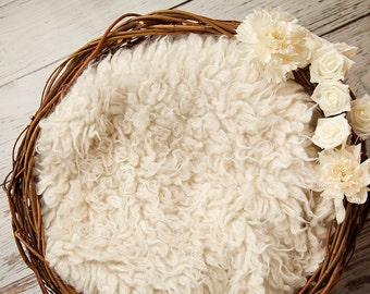 Digital Backdrop, newborn nest - digital prop with white flowers