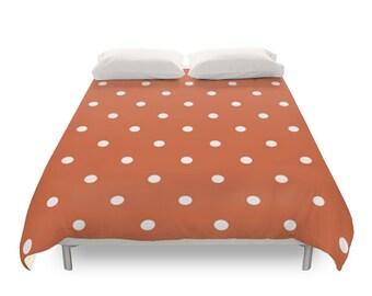 Polka Dots Duvet Cover, 5 Warm Color Options, Twin, Full, Queen Duvet, King Duvet, Elegant Bedding, Dots Pattern, Yellow, Orange, Red, Pink