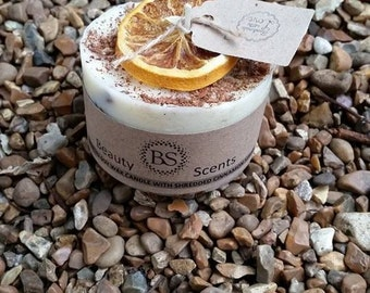 Handmade Scented Natural Candle With Shredded Cinnamon Sticks D 7.5 H 5 cm