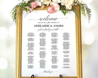 Wedding Seating Chart Poster, Printable Wedding Seating Chart Sign Template, Alphabetical, VW25, VW26, VW28, VW30, VW34, VW37, VW49, VW50