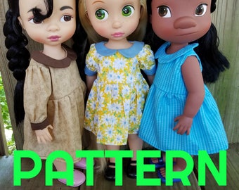 All Seasons Gathered Dress SEWING PATTERN for Disney Animator Dolls, Sewing Pattern, Summer Dress, Winter Dress, Doll Clothes