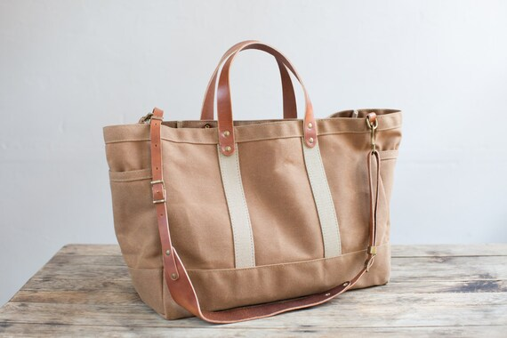 Tool / Garden Tote In Rust Waxed Canvas U0026 Harness Leather