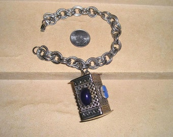 Vintage Japanese Lantern Charm Bracelet With Blue Glass Cabochons 1950's Jewelry 2064