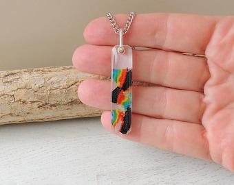 Rainbow Shavings Necklace, Rainbow Colour Pencil Shavings Resin Pendant, Rainbow Jewellery, Resin Jewellery, UK Seller