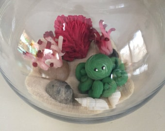 Mini Marble Friend Octopus Terrarium Kit choice of Teal or green swirl with hand sculpted coral and anemone