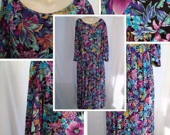 80's Floral Prairie Dress (S/M)