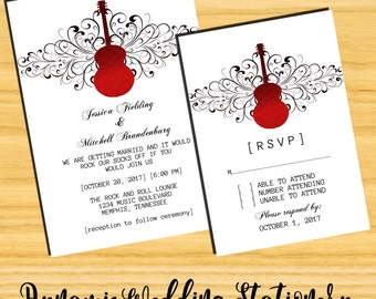 DIY Digital Printable Guitar Swirls Music Theme Rocker Chic Wedding Invite and RSVP Card