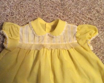 Vintage Baby Yellow Girl Infant Dress Crepe Easter Wedding Party Photo Shoot Session Size 12 Months ?