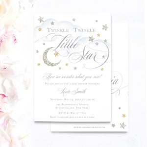 Silver and Gold Twinkle twinkle little star gender beutral baby shower Invitations  | twins baby shower invitations | gender neutral