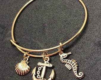 Seaside Theme Bangle Bracelet Gold-tone