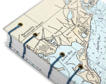 Map Journal - Unlined Journal - Yarmouth Cape Cod Journal - made from Nautical Charts by Ruth Bleakley - 160 pages