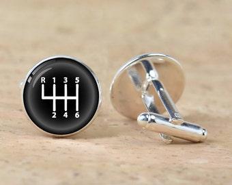 Gear Stick cufflinks silver Car velocity cuff links accessories men car gear shift