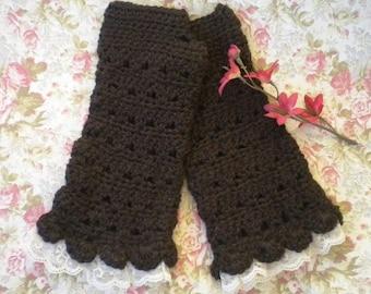 "Crocheted Victorian Alpaca Fingerless Gloves ""Tea Length"" Dark Brown w Lace Victorian"