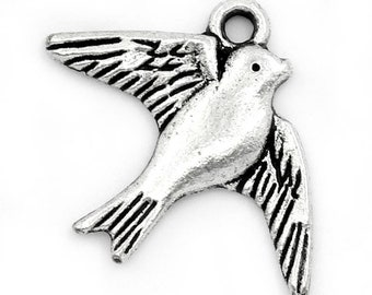 1 pendant charm swallow 23x18mm