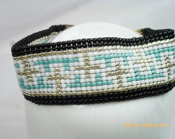 Hand Loomed Beaded Bracelet in Turquoise, Black & Galvanized Silver with SP Ends~ Free Shipping
