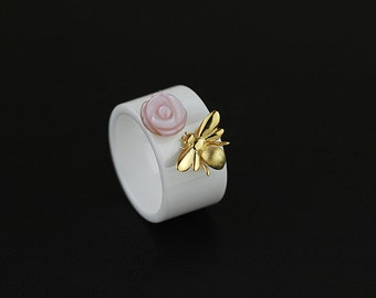 Rose Bee Ceramic Ring-Pink Rose Ring-Gold Honeybee Ring-Opal Nanoceramic Ring-Dainty Women Ring-Everyday Jewelry