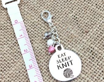 Stitch Marker, Knit Progress Marker, Eat Sleep KNIT, Crochet Progress Keeper, Removable Marker, Zipper Pull, WIP Marker