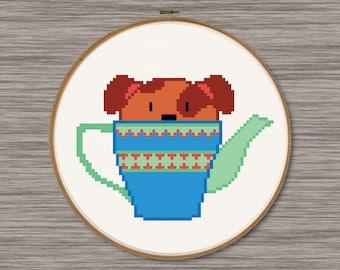 Puppy in a Teapot - PDF Cross Stitch Pattern