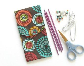 Knitting Needle Case, Crochet Hooks Case, Organizer, Notions, Makeup Case, Brushes Storage Pouch