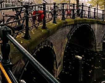 Amsterdam bike photo, bike parking, bicycle photo, fine art Netherlands photography, Falling Off Bicycles travel photo, wall decor