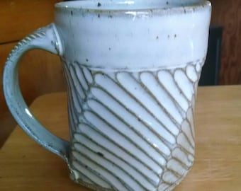 "Carved Stoneware Coffee Mug ""Ready to Ship"""