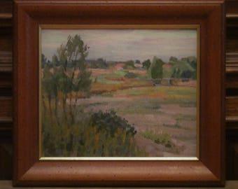 1983 The village Lapino. Oil Painting. Landscape.Original