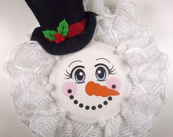 Snowman Ruffle Mesh Wreath, Snowman and Top Hat Wreath, Wreath made on Facebook Live 06/14/18