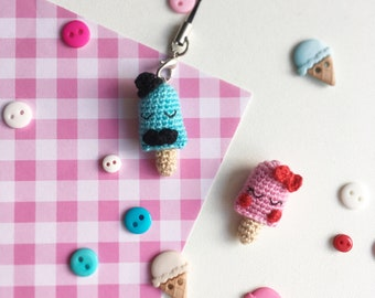 Crochet Ice Cream Keyring Bag Charm Keychain Gift