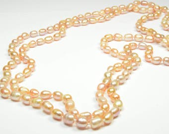 Pearl Necklace - Rope Length Pink Pearl Necklace - 49 inches 5.5-6.5mm Pink Freshwater Pearl Necklace - Long Pearl Necklace