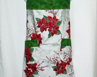 Christmas Apron, Adult Plus Size, Poinsettia Floral Red and Green, Custom Personalize With Name, No Shipping Fee, Ships TODAY AGFT 1180
