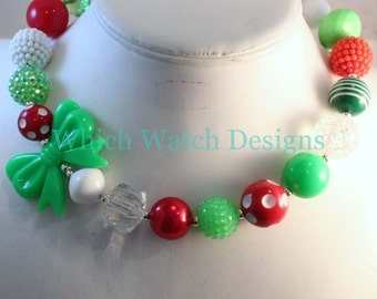Holly Jolly.. Chunky Lime Green, Red, White and Green Toddler Bubblegum Christmas Necklace