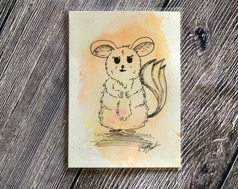 Chinchilla Watercolor Critter (Original Watercolor with Ink Drawing) | Not a Print, Original, Home Decor, Trending Art, Animal Drawing, 5x7