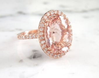 Oval Morganite Engagement Ring, Morganite Diamond Halo Ring, Peach Morganite, 14 x 10, 14 K Rose Gold, 6 carat Morganite, Large Morganite