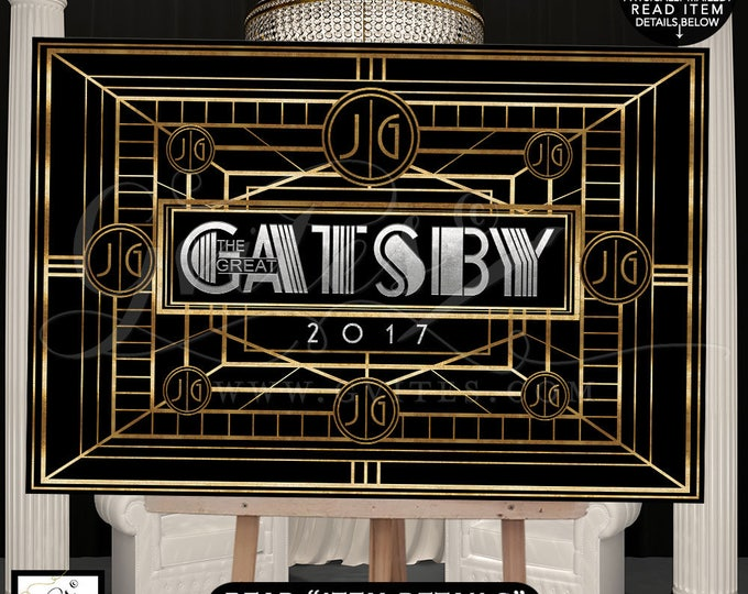 Great Gatsby Backdrop theme party banner signs, backdrops, step and repeat 1920s party, table wall backdrop,repeat banner poster. DIGITAL